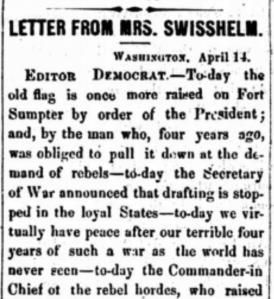 """Letter from Jane Grey Swisshelm,"" The St. Cloud Democrat. April 27, 1865."