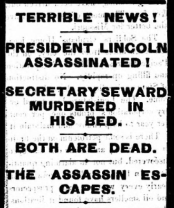 """""""President Lincoln Assassinated!"""", The St. Cloud Democrat, April 20, 1865."""