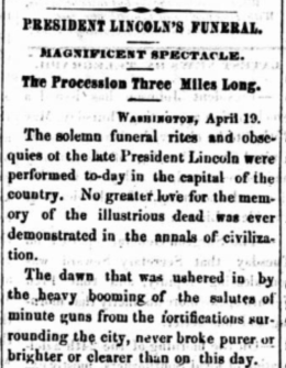 President Lincoln Funeral Newspaper Article - Saint Cloud Democrat