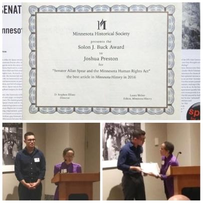 Joshua Preston Minnesota History 2016 Solon J Buck Award